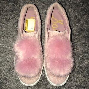 Sam Edelman pink sneakers with puff balls